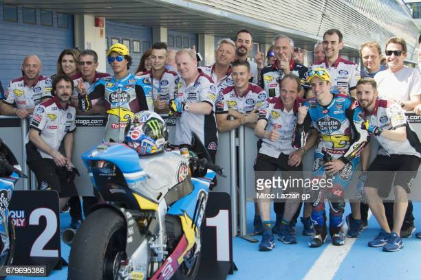 Franco Morbidelli of Italy and EG 00 Marc VDS Alex Marquez of Spain and EG 00 Marc VDS with teams pose for photographers at the end of the qualifying...