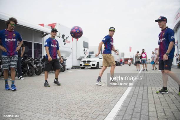 Franco Morbidelli of Italy and EG 00 Marc VDS Aron Canet of Spain and Estrella Galicia 0 Aleix Espargaro of Spain and Aprilia Racing Team Gresini Pol...
