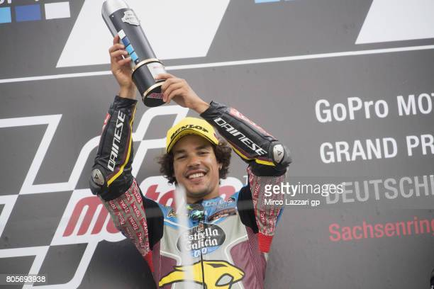 Franco Morbidelli of Italy and EG 00 Marc VDS celebrates the victory on the podium at the end of the Moto2 race during the MotoGp of Germany Race at...