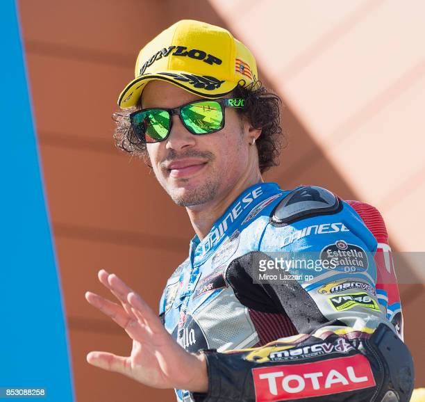 Franco Morbidelli of Italy and EG 00 Marc VDS celebrates the victory on the podium at the end of the Moto2 race during the MotoGP of Aragon Race at...