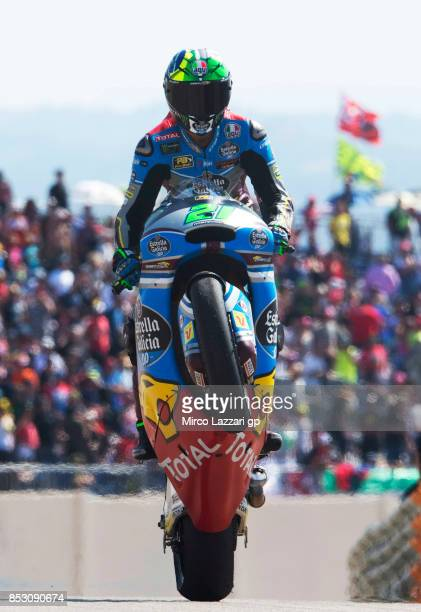 Franco Morbidelli of Italy and EG 00 Marc VDS celebrates the victory at the end of the Moto2 race during the MotoGP of Aragon Race at Motorland...