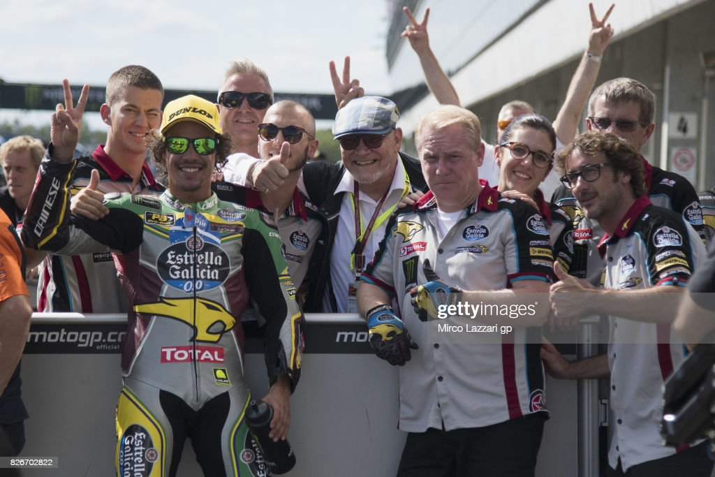Franco Morbidelli of Italy and EG 00 Marc VDS celebrates with team at the end of the qualifying practice during the MotoGp of Czech Republic - Qualifying at Brno Circuit on August 5, 2017 in Brno, Czech Republic.
