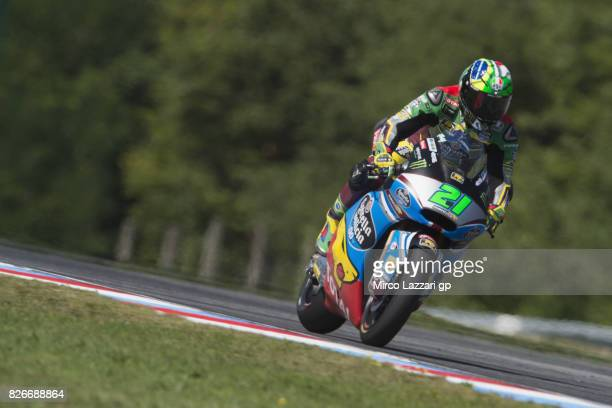 Franco Morbidelli of Italy and EG 00 Marc VDS heads down a straight during the MotoGp of Czech Republic Qualifying at Brno Circuit on August 5 2017...