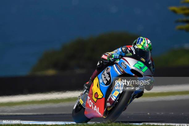 Franco Morbidelli of Italy and EG 00 Marc VDS heads down a straight during free practice for the 2017 MotoGP of Australia at Phillip Island Grand...