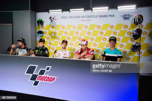 Franco Morbidelli of Italy and EG 00 Marc VDS Johann Zarco of France and Monster Yamaha Tech 3 Dani Pedrosa of Spain and Repsol Honda Team and Andrea...