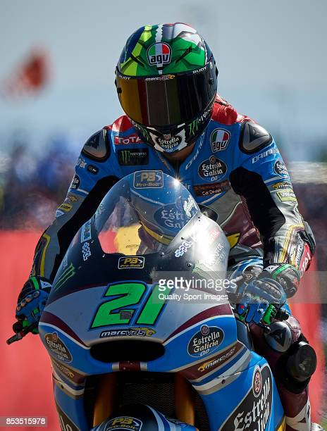 Franco Morbidelli of Italy and Eg 00 Marc Vds Kalex after the Moto2 race for the MotoGP of Aragon at Motorland Aragon Circuit on September 24 2017 in...