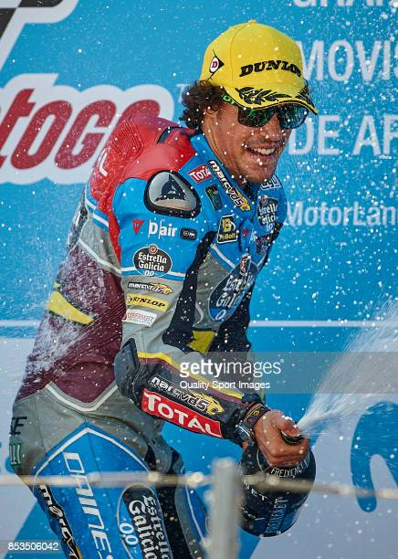 Franco Morbidelli of Italy and Eg 00 Marc Vds Kalex celebrates at the podium after the race for the MotoGP of Aragon at Motorland Aragon Circuit on...