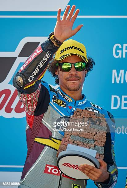 Franco Morbidelli of Italy and Eg 00 Marc Vds Kalex celebrates at the podium after the Moto2 race for the MotoGP of Aragon at Motorland Aragon...
