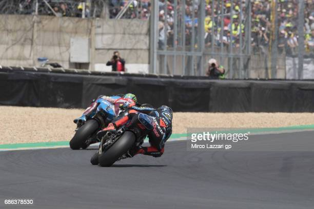Franco Morbidelli of Italy and EG 00 Marc VDS leads Francesco Bagnaia of Italy and Sky Racing Team VR46 during the Moto2 race during the MotoGp of...