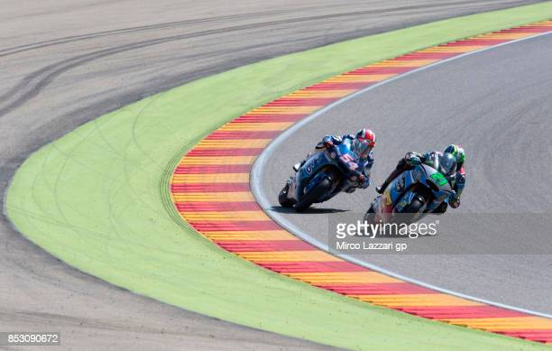 Franco Morbidelli of Italy and EG 00 Marc VDS leads Mattia Pasini of Italy and Italtrans Racing Team during the Moto2 race during the MotoGP of...