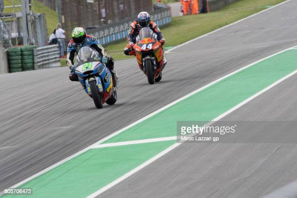 Franco Morbidelli of Italy and EG 00 Marc VDS leads Miguel Oliveira of Portugal and Red Bull KTM Ajo during the Moto2 race during the MotoGp of...