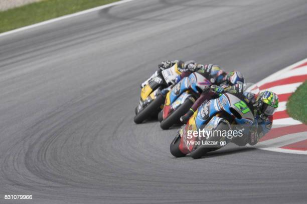 Franco Morbidelli of Italy and EG 00 Marc VDS leads the field during the Moto2 race during the MotoGp of Austria Race at Red Bull Ring on August 13...