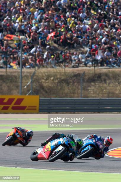 Franco Morbidelli of Italy and EG 00 Marc VDS leads the field during the Moto2 race during the MotoGP of Aragon Race at Motorland Aragon Circuit on...