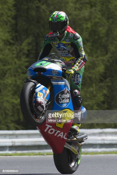 Franco Morbidelli of Italy and EG 00 Marc VDS lifts the front wheel during the MotoGp of Czech Republic Qualifying at Brno Circuit on August 5 2017...