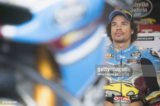 Franco Morbidelli of Italy and EG 00 Marc VDS looks on in box during the MotoGp of Czech Republic Free Practice at Brno Circuit on August 4 2017 in...