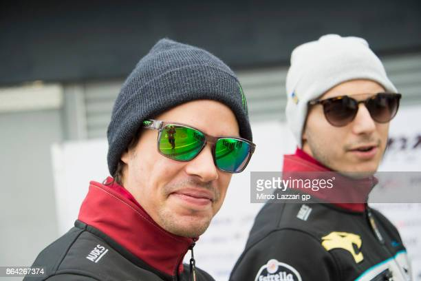 Franco Morbidelli of Italy and EG 00 Marc VDS looks on in paddock before the Moto2 qualifying practice during qualifying for the 2017 MotoGP of...