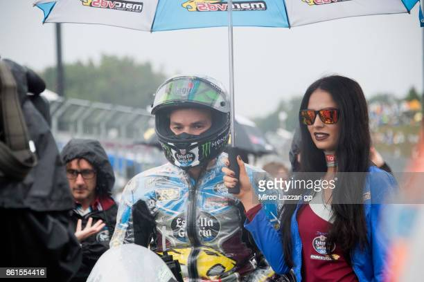 Franco Morbidelli of Italy and EG 00 Marc VDS prepares to start on the grid during the Moto2 race during the MotoGP of Japan Race at Twin Ring Motegi...