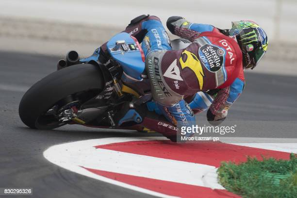 Franco Morbidelli of Italy and EG 00 Marc VDS rounds the bend during the MotoGp of Austria Free Practice at Red Bull Ring on August 11 2017 in...