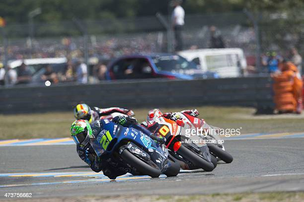 Franco Morbidelli of Italy and Italtrans Racing Team leads the field during the Moto2 race during the MotoGp of France Race at on May 17 2015 in Le...