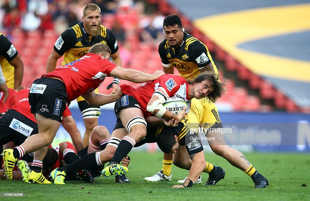 Franco Mostert of the Emirates Lions during the round 10 Super Rugby match between Emirates Lions and Hurricanes at Emirates Airline Park on April 30, 2016 in Johannesburg, South Africa.