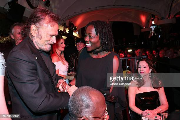 Franco Nero and Auma Obama sister Barack Obama during the Lambertz Monday Night 2016 at Alter Wartesaal on February 1 2016 in Cologne Germany
