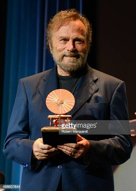 Franco Nero receives the 'Premi Maquina del Temps' at the 47th Sitges Film Festival at the Hotel Melia on October 3 2014 in Sitges Spain