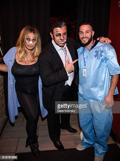 Franco Porporino Jr Cory Eps and Tracy DiMarco attend the Fresco Da Franco Halloween Ball at Fresco Restaurant on October 27 2016 in Montclair New...