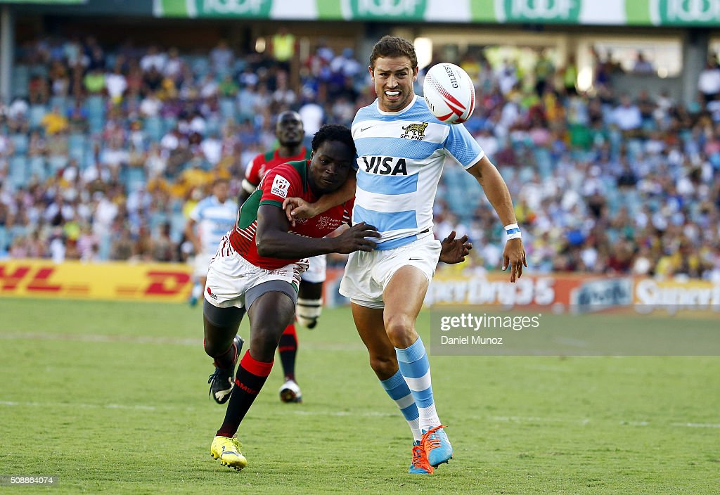 Franco Sabato of Argentina runs for the ball as he is tackled during the 2016 Sydney Sevens match between Argentina and Kenya at Allianz Stadium on February 7, 2016 in Sydney, Australia.