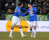 Franco Semioli of UC Sampdoria celebrates his team's opening goal with team mate Giampaolo Pazzini during the Serie A match between UC Sampdoria and...