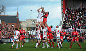 Franco van der Merwe of Ulster and Romain Taofifenua of Toulon compete for a lineout ball during the European Rugby Champions Cup Pool 3 game at the...