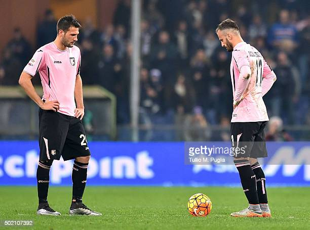 Franco Vazquez and Alberto Gilardino of Palermo show their dejection during the Serie A match between UC Sampdoria and US Citta di Palermo at Stadio...