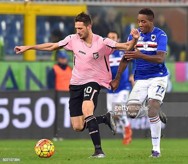 Franco Vazquez of Palermo and Carlos Mario Carbonero of Sampdoria compete for the ball during the Serie A match between UC Sampdoria and US Citta di...