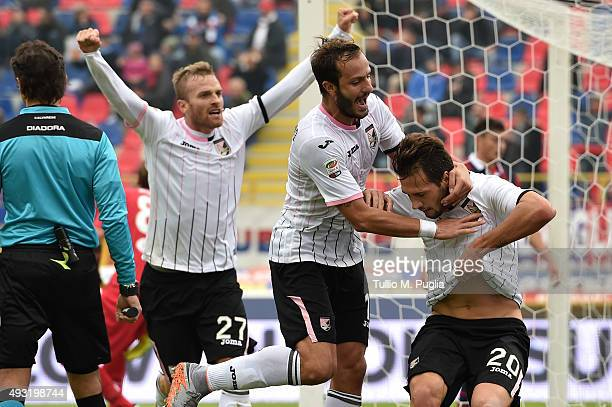 Franco Vazquez of Palermo celebrates after scoring the opening goal during the Serie A match between Bologna FC and US Citta di Palermo at Stadio...
