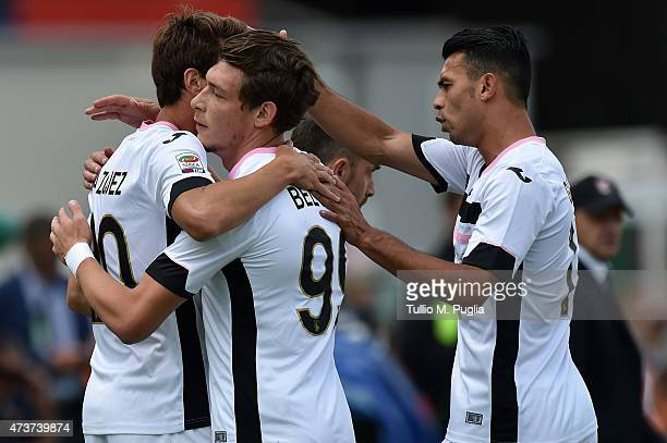 Franco Vazquez of Palermo celebrates with team mates after scoring the opening goal during the Serie A match between Cagliari Calcio and US Citta di...