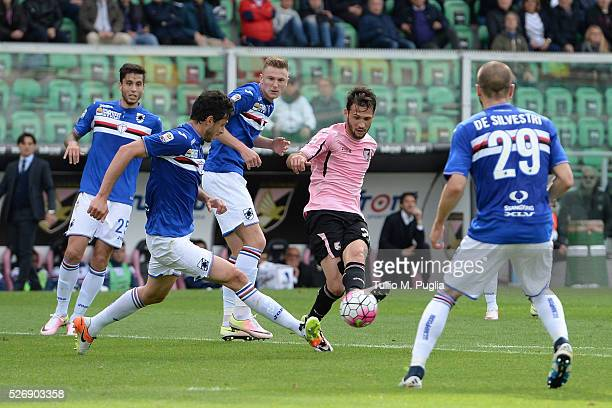 Franco Vazquez of Palermo in action during the Serie A match between US Citta di Palermo and UC Sampdoria at Stadio Renzo Barbera on May 1 2016 in...