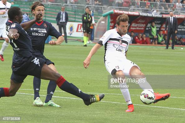Franco Vazquez of Palermo scored the goal 01 during the Serie A match between Cagliari Calcio and US Citta di Palermo at Stadio Sant'Elia on May 17...