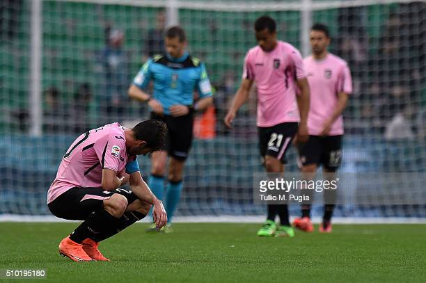 Franco Vazquez of Palermo shows his dejection after losing the Serie A match between US Citta di Palermo and Torino FC at Stadio Renzo Barbera on...