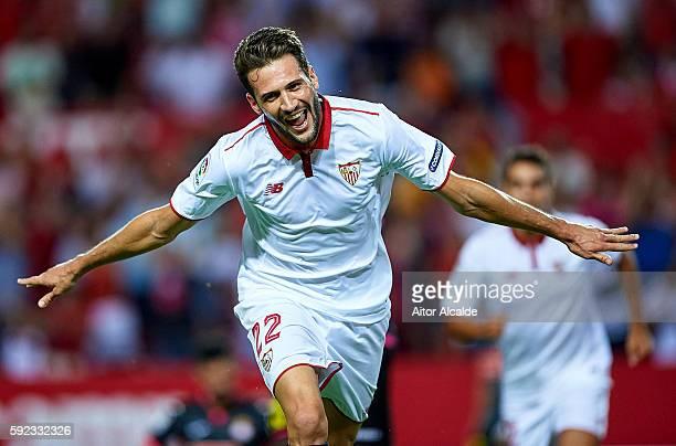Franco Vazquez of Sevilla FC celebrates after scoring during the match between Sevilla FC vs RCD Espanyol as part of La Liga at Estadio Ramon Sanchez...