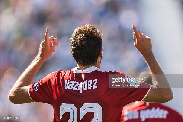 Franco Vazquez of Sevilla FC celebrates during their La Liga match between Deportivo Leganes and Sevilla FC at the Butarque Municipal Stadium on 15...