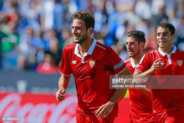 Franco Vazquez of Sevilla FC celebrates scoring their opening goal during the La Liga match between CD Leganes and Sevilla FC at Estadio Municipal de...