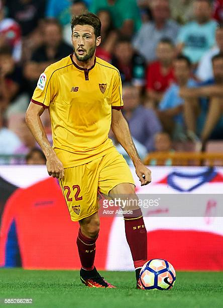 Franco Vazquez of Sevilla FC in action during a friendly match between Granada FC and Sevilla FC at Estadio Nuevo los Carmenes on August 2 2016 in...