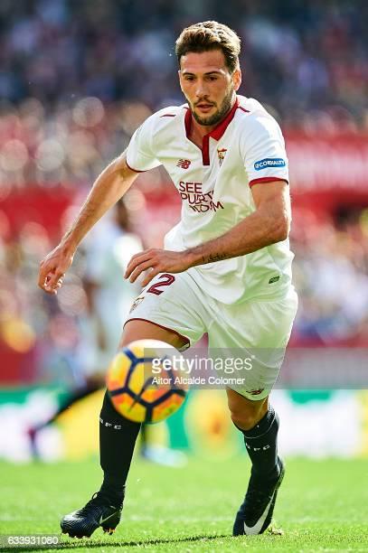 Franco Vazquez of Sevilla FC in action during the La Liga match between Sevilla FC and Villarreal CF at Estadio Ramon Sanchez Pizjuan on February 05...