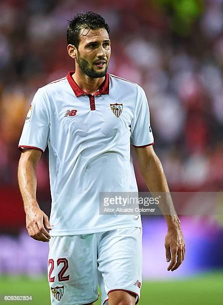 Franco Vazquez of Sevilla FC in action during the match between Sevilla FC vs Real Betis Balompie as part of La Liga at Estadio Ramon Sanchez Pizjuan...