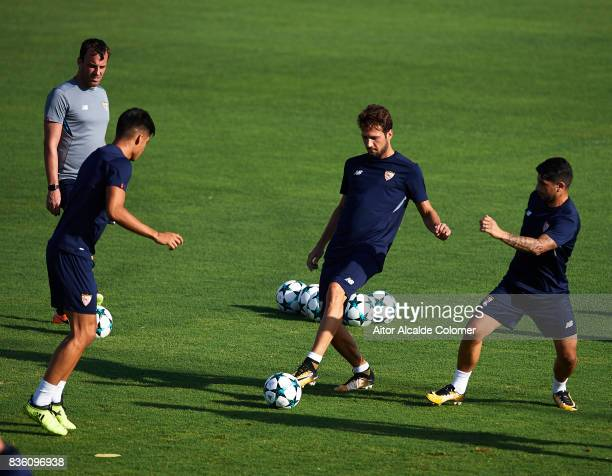 Franco Vazquez of Sevilla FC in action during the training session prior to their UEFA Champions League match against Istanbul Basaksehir at the...