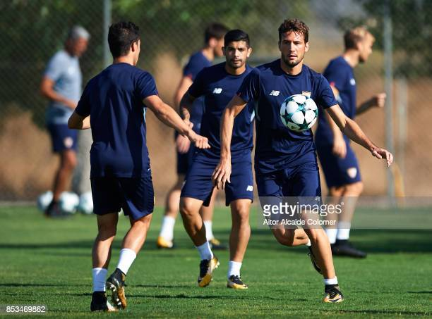 Franco Vazquez of Sevilla FC in action during the training session prior to their UEFA Champions League match against Maribor at training ground of...