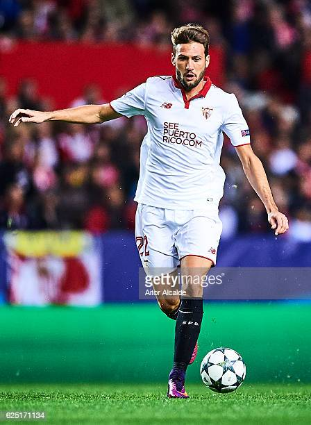 Franco Vazquez of Sevilla FC in action during the UEFA Champions League match between Sevilla FC and Juventus at Estadio Ramon Sanchez Pizjuan on...
