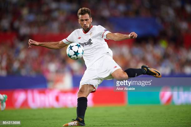Franco Vazquez of Sevilla FC in action during the UEFA Champions League match between Sevilla FC and NK Maribor at Estadio Ramon Sanchez Pizjuan on...