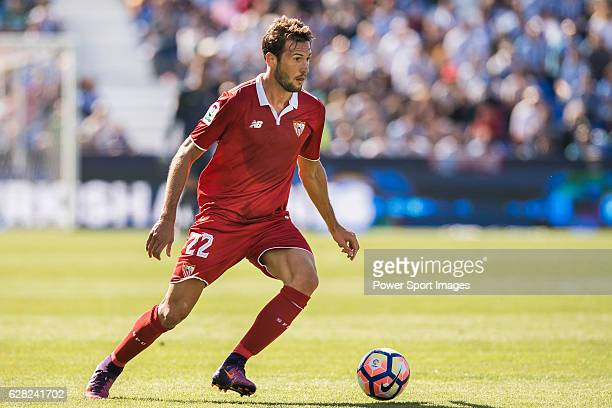 Franco Vazquez of Sevilla FC in action during their La Liga match between Deportivo Leganes and Sevilla FC at the Butarque Municipal Stadium on 15...