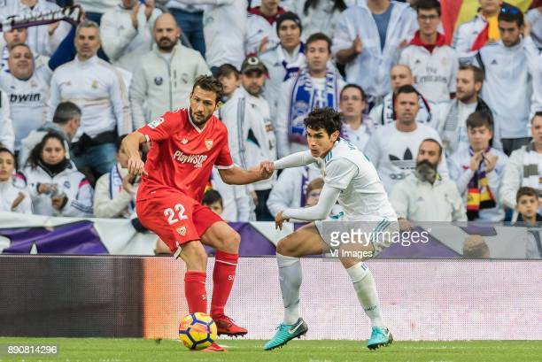 Franco Vazquez of Sevilla FC Jesus Vallejo of Real Madrid during the La Liga Santander match between Real Madrid CF and Sevilla FC on December 09...