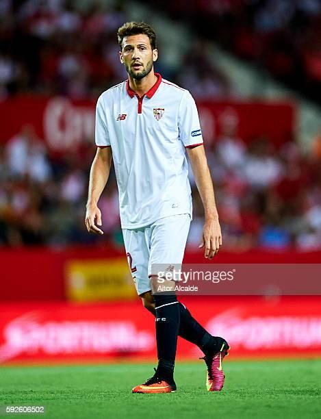 Franco Vazquez of Sevilla FC looks on during the match between Sevilla FC vs RCD Espanyol as part of La Liga at Estadio Ramon Sanchez Pizjuan on...